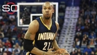 David West looking at Wizards, Spurs