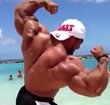 Roelly Winklaar Flexing on the Beach in Curaçao