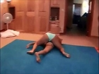 Female wrestling  (standing headlock, side headlock, headscissors and double arm lock). 女子レスリング