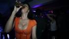 Big tits girl drinks beer with sexy waterfall!